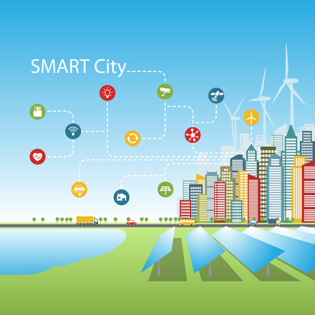A smart city concept illustration with advanced intelligent services, augmented reality, social networks connection. Internet of things, alternative energy sources, background, place for a text.