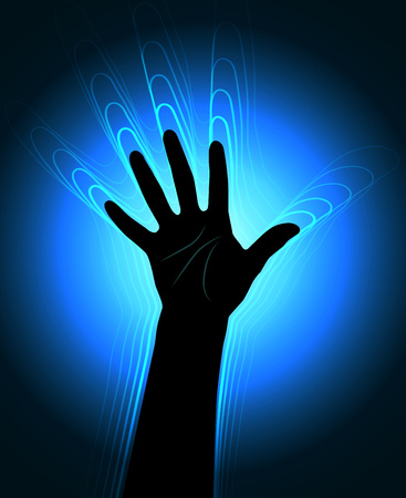 The contour of the human hand with the glowing waves leaving it Illustration