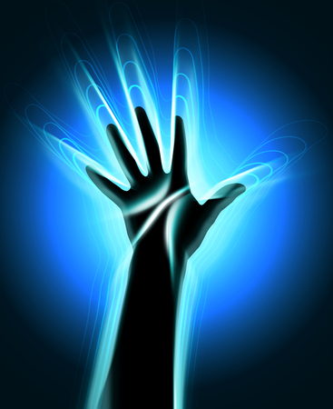 aura: The contour of the human hand with the glowing waves leaving it Stock Photo