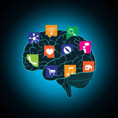 Mobiele apps geïnstalleerd in de hersenen, het vervangen van de geest, het bewustzijn Stockfoto - 81569177