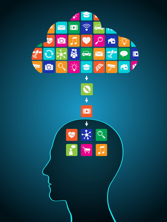 Downloading applications from the cloud to the head. Mobile applications are installed in the brain, replacing the mind Illustration