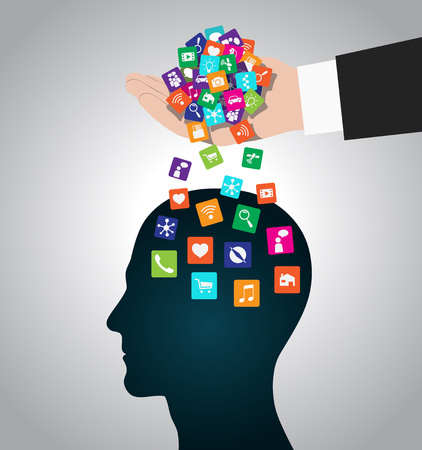 Hand loads icons head. Mobile apps installed into the brain, replacing the mind Çizim