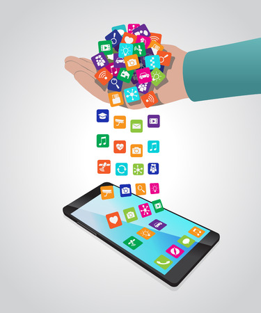 Hand loads and installs apps in smartphone. Vector illustration is ordered by layers