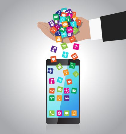 Hand loads and installs apps in smartphone Ilustração
