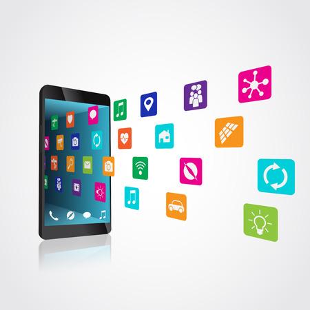 Les icônes volent vers le smartphone, téléchargent et installent ou sont désinstallés, l'illustration vectorielle est commandée par des calques Vecteurs