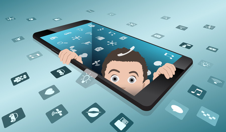 A frightened man looks out of smartphone with the screen, the return to reality from virtual reality, virtual reality, vector illustration with well organized layers