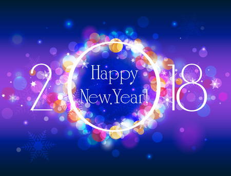 glittery: Happy New Year 2018 vector colorful background, vector illustration with well organized layers