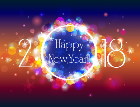 Happy New Year vector blue orange background with some space for text, vector illustration with well organized layers Illustration