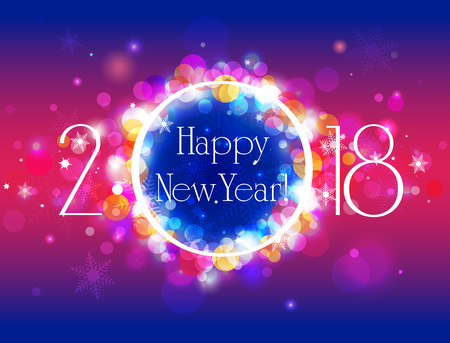 Happy New Year 2018 vector colorful background, illustration with well organized layers Illustration