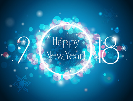 glittery: Happy New Year 2018 vector blue background, vector illustration with well organized layers Illustration