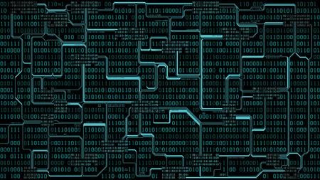 Astratto circuito elettronico futuristico, codice binario, sfondo tecnologia digitale del computer, strati ben organizzati Vettoriali