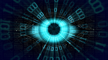 Big brother electronic eye concept, global surveillance, security of computer systems networks