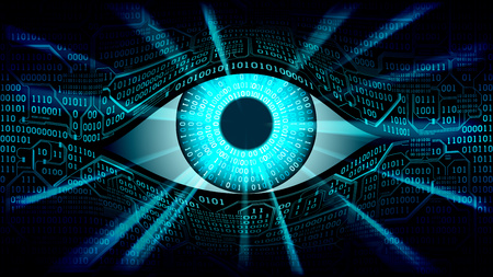 Big brother electronic eye concept, technologies for the global surveillance, security of computer systems and networks, well organized layers 向量圖像