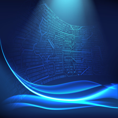 Abstract digital background with light lines, waves, the concept of virtual space of technologies of the future