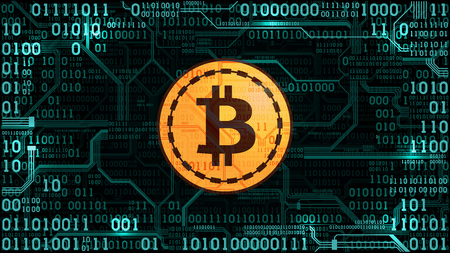 Symbol of cryptocurrency bitcoin on the background of binary code and printed circuit board, well organized layers Illustration