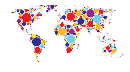 World map of colored circles, multicolor pattern, well organized layers Stock Vector - 90105335