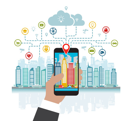 Smartphone in hand helps to focus in a smart city with advanced smart services, and augmented reality, social networking, location in the city