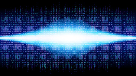 Binary abstract background with bright radiance in the digital space, glowing cloud of big data, stream of information, well organized layers