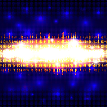 Mosaic background with a golden glowing area in the form of a sound wave, audio wave design, well organized layers Illustration