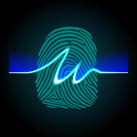 Abstract signature on fingerprint background, fingerprints scanning process - access control system, security, data protection