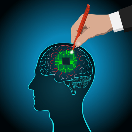 Restoration of brain functions, prosthetics of affected areas, mind, consciousness, memory, surgical treatment of brain diseases Illustration