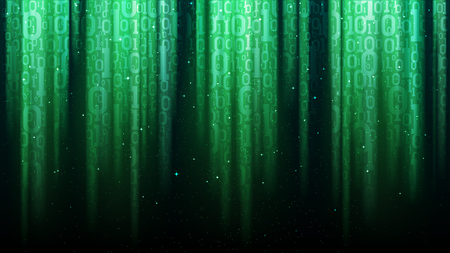 Dark green background with light rays, translucent binary code, sequins illustration.