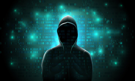 Silhouette of a hacker on a background with binary code and lights, hacking of a computer system, theft of data