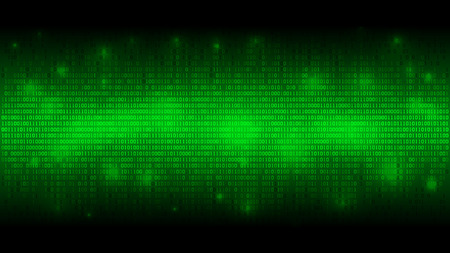 Glowing binary code, matrix green abstract background, cloud of big data, stream of information, well organized layers  イラスト・ベクター素材