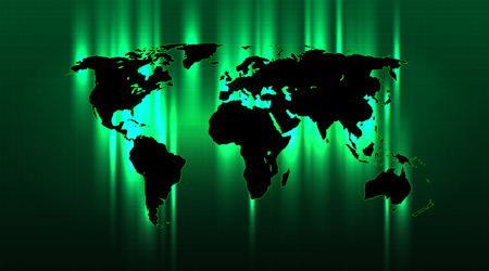 Brightly highlighted abstract world map on a green grid background, well-organized layers