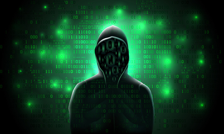Silhouette of a hacker on a luminous matrix green background with binary code, hacking a computer system, stealing data. Illustration