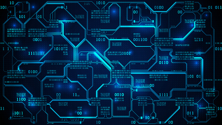 Abstract futuristic electronic circuit board with binary code, neural network and big data - an element of artificial intelligence, matrix background with digits, well organized layers