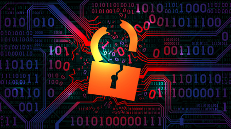 Hacking abstract firewall, antivirus. Hacked lock against the background of an abstract futuristic electronic board with binary code