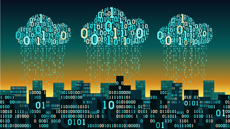 Abstract futuristic smart city connected to cloud storage, with the artificial intelligence and internet of things, binary rain - data stream, big data, network digital technology concept