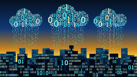 Abstracte slimme stad met de kunstmatige intelligentie en internetverbinding, binaire regendata. Vector Illustratie