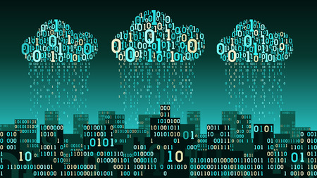 Abstract smart city with artificial intelligence and internet of things, connected cloud storage, binary rain data stream, big data, network technology concept