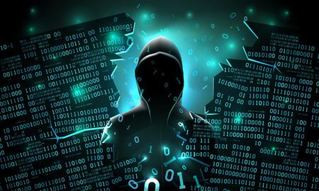 Hacker que utiliza Internet pirateado servidor informático abstracto, base de datos, almacenamiento en red, firewall, cuenta de red social, robo de datos
