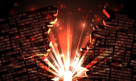 Abstract futuristic cyberspace hacked array binary data, blown-up binary code, matrix background