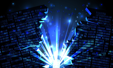 Abstract futuristic cyberspace with a hacked array of binary data, explosion with rays of light, blown-up binary code, matrix background, big data artificial intelligence, well organized layers Illustration