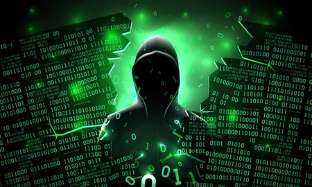 Hacker met behulp van internet gehackte abstracte computerserver, database, netwerkopslag, firewall, sociaal netwerkaccount, diefstal van gegevens