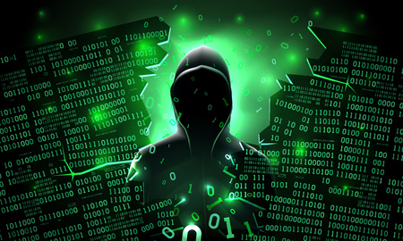 Hacker utilisant le serveur informatique abstrait piraté Internet, base de données, stockage réseau, pare-feu, compte de réseau social, vol de données