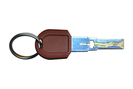 Key on ring, toned in blue, isolated on white