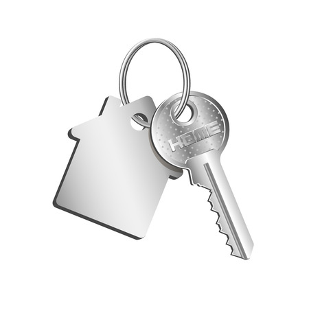 Key house on the ring with a key fob, concept of sale purchase of real estate, rental of property