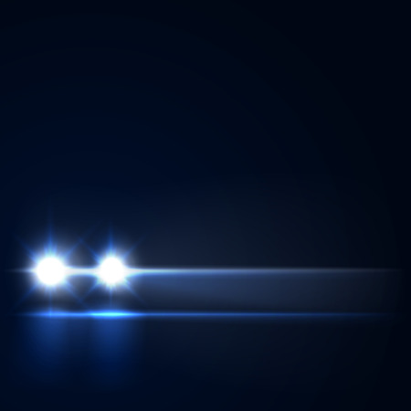 Night car with bright headlights approaching in the dark, led car headlights on the night road, vector illustration Ilustrace