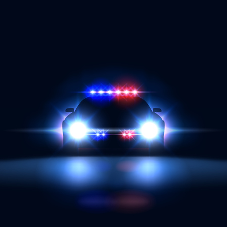 Police car sheriff at night with flashing light. Police security patrol on the car in the dark with a siren, vector illustration Ilustração