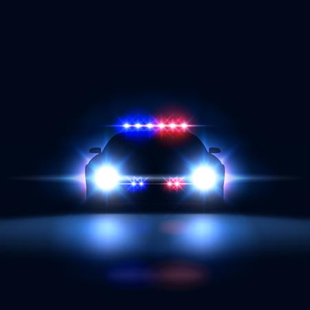 Shérif de voiture de police la nuit avec lumière clignotante. Patrouille de sécurité de la police sur la voiture dans le noir avec une sirène, illustration vectorielle