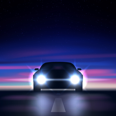 Night car with bright headlights against the background of a colorful starry sky, approaching along a dark road, the silhouette of a car with xenon and led headlights, vector illustration Ilustrace