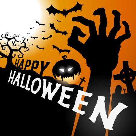 Halloween greeting card with hand vector background, Happy halloween party festive poster