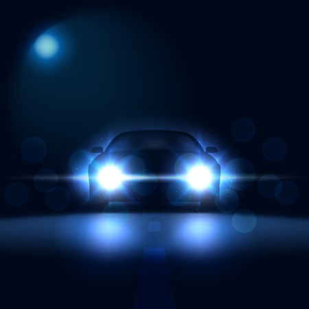 Car at night with bright headlights on a dark background with bokeh, car silhouette with xenon headlights, vector illustration