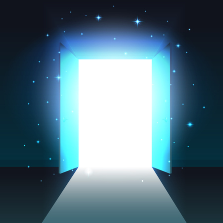 Mystical light from the open door of a dark room, abstract glowing exit, background, open double door template, mock up Ilustração