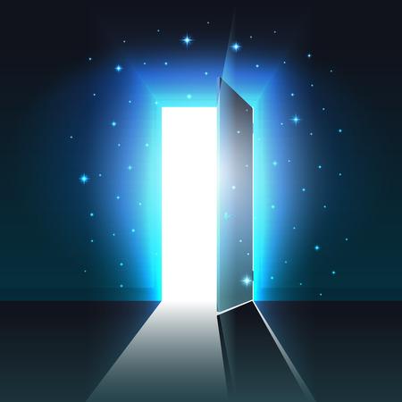 Luce mistica dalla porta aperta di una stanza buia, uscita incandescente astratta, sfondo, modello di porta aperta, mock up